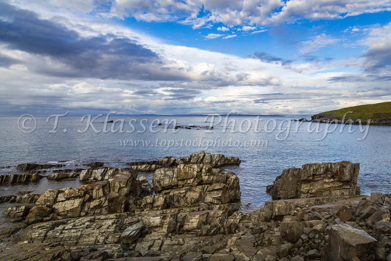 The rocky shoreline of Spaniard's Bay Point, Newfoundland and Labrador, Canada.