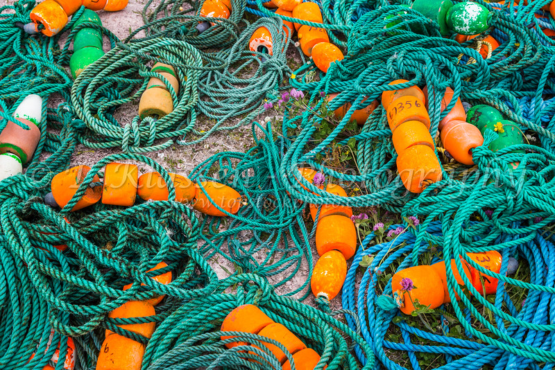 Colorful rope and fishing bouys in Old Perlican, Newfoundland and Labrador, Canada.