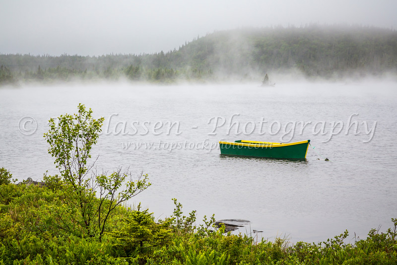 Fishing dory in the fog on Route 10, Newfoundland and Labrador, Canada.