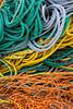 Closeup of fishing gear and rope at King Cove, Newfoundland and Labrador, Canada.