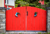 A red gate in the village of Freshwater, Newfoundland and Labrador, Canada.