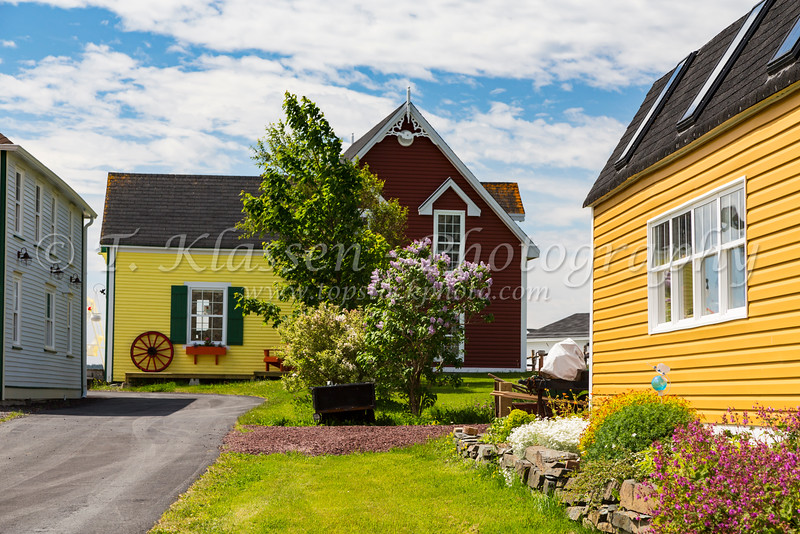 Colorful buildings in the village of Freshwater, Newfoundland and Labrador, Canada.