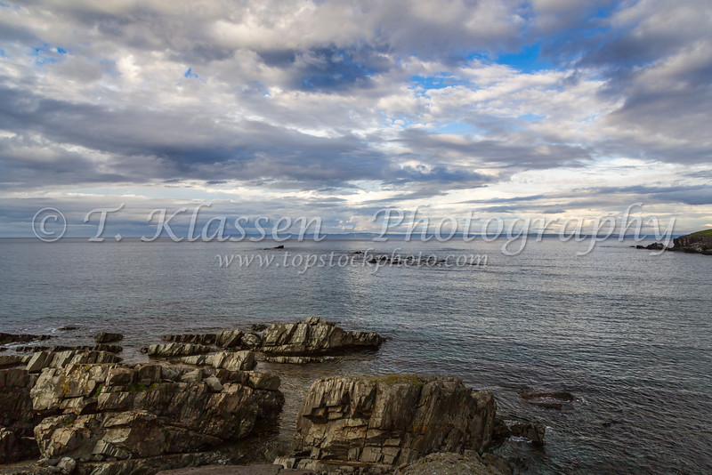 The rocky shoreline of Spaniard's Bay Point, Newfoundland and Labrador, Canada.