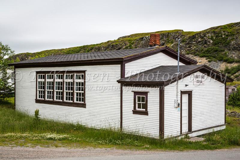 The historic school building at Hibbs Hole, Newfoundland and Labrador, Canada.