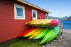 Colorful kayaks at Norris Point, Newfoundland and Labrador, Canada.