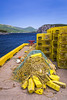 Lobster traps and rope on the dock at Norris Point, Newfoundland and Labrador, Canada.
