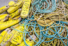 A pile of fishing gear on the dock at Norris Point, Newfoundland and Labrador, Canada.
