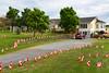 Canada Day flags at a home in Port de Grave, Newfoundland and Labrador, Canada.