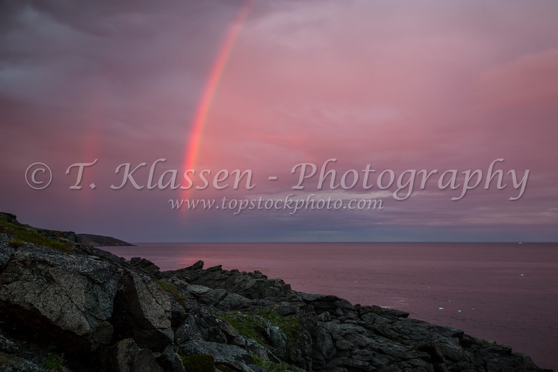 A rainbow off Fisherman's Point in St. Anthony, Newfoundland and Labrador, Canada.