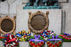 A closeup of wreathes at he Canada Day Remembrance service at the War Memorial in St. John's, Newfoundland and Labrador, Canada.