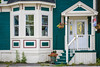 A colorful door and houses in St. John's Newfoundland and Labrador, Canada.