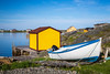 Fishing boats oim the harbour at the fishing village of Tilting, Fogo Island, Newfoundland and Labrador, Canada.