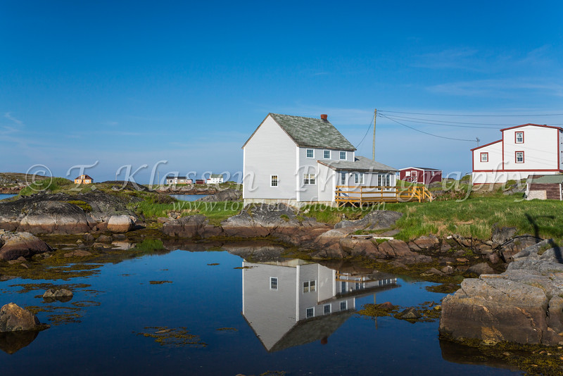 Salt box homes  at the fishing village of Tilting, Fogo Island, Newfoundland and Labrador, Canada.