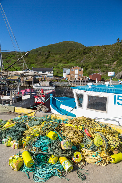 Closeup of fishing gear at Trout River, Newfoundland and Labrador, Canada.
