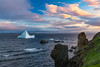 Icebergs at sunset in the waters at Twillingate, Newfoundland and Labrador, Canada.
