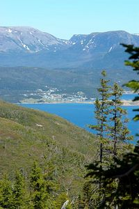 From about halfway up Lookout Trail, looking across at Norris Point / Neddy's Harbour