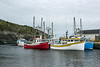 Harbour entrance with trawlers, Trout River, Newfoundland