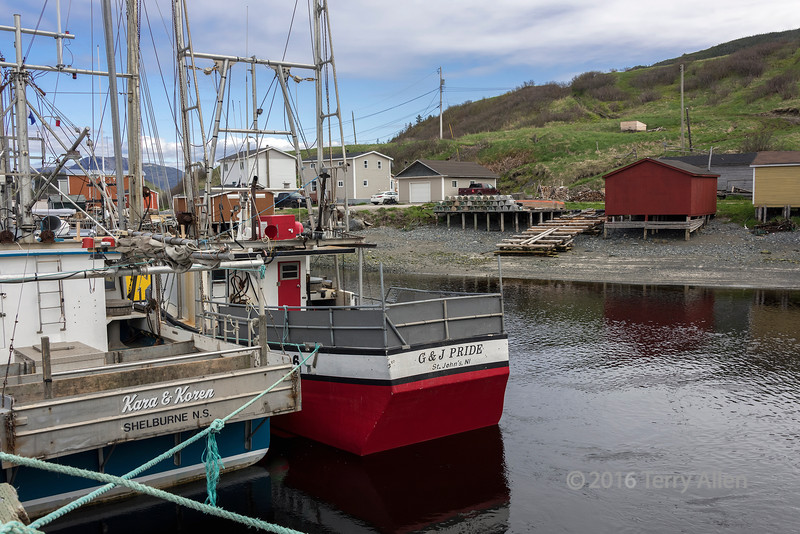 Trawlers at the wharf at Trout River, Newfoundland