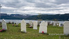 Old gravestones, St  Barnabas Anglican Cemetery, with Bonne Bay and Woody Point in the background, Norris Point, Newfoundland