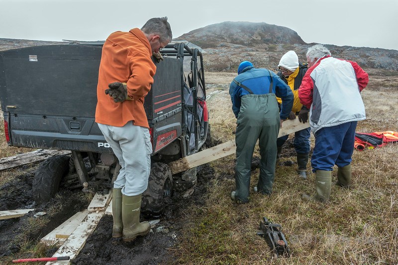 Getting the ATV unstuck from the water-logged peat, Quirpon Island, Newfoundland