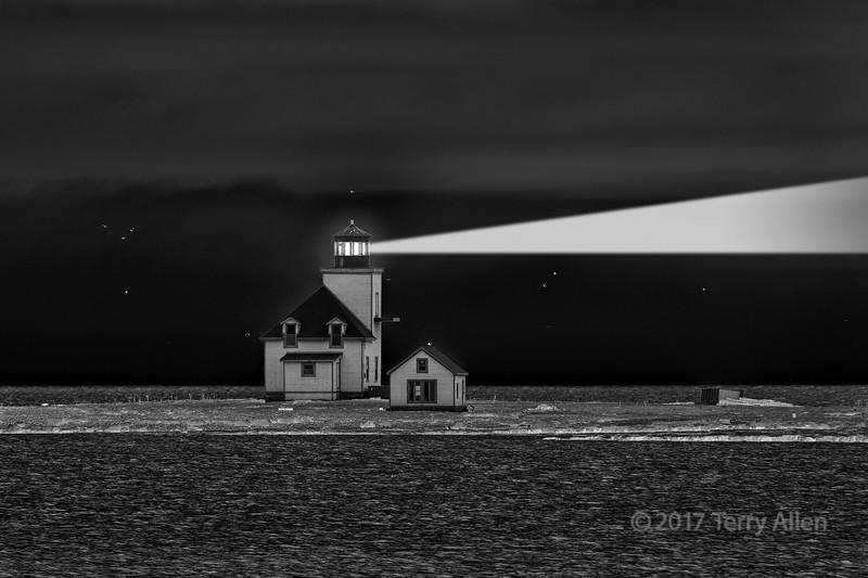 Ghost light, abandoned lighthouse, Flowers Island, Flowers Cove BW, Newfoundland
