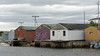 Fish shacks and fishing stages, Parson's Pond, Newfoundland