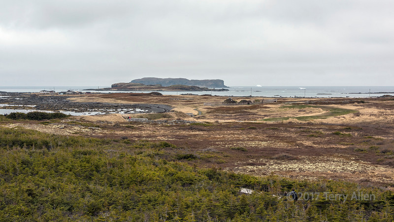 L'Anse Aux Meadows with offshore icebergs, Great Northern Peninsula, Newfoundland