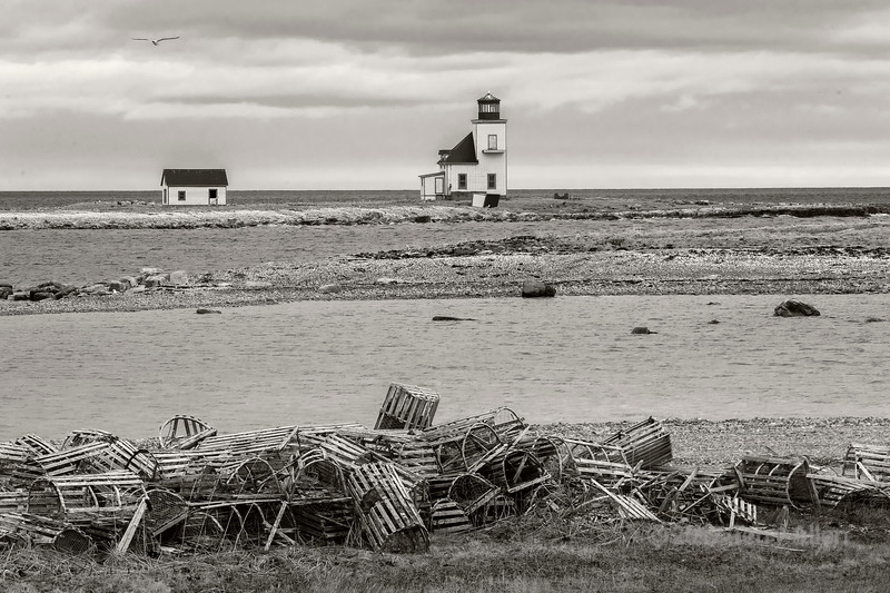 Lightkeeper's house looking to the South East, Flower's Island, Nameless Bay, Flower's Cove, Newfoundland BW