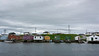 Fishing stages, fish shacks and boats, Parson's Pond, Newfoundland
