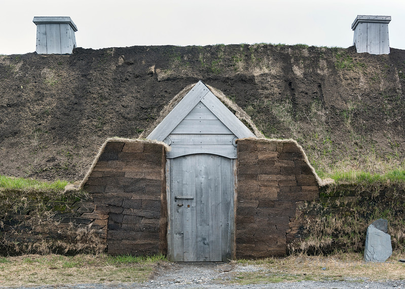 Detail of sod house construction, Viking UNESCO site, L'anse aux Meadows, Newfoundland