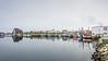 Fishing boats docked around the breakwater to the inner harbour, Bonavista, Newfoundland