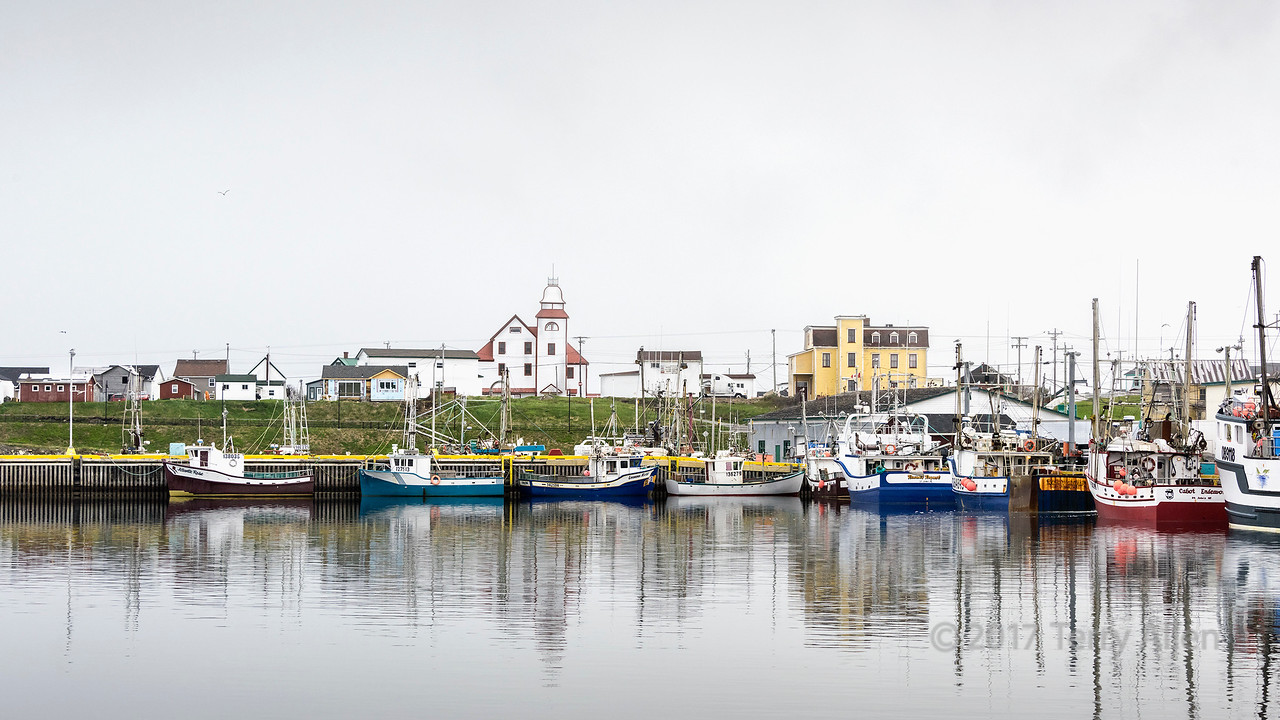 Fishing boats and church, Bonavista harbour, Newfoundland