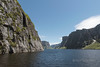 Looking towards the end of the fjord at Western Brook Falls, Gros Morne National Park, Newfoundland