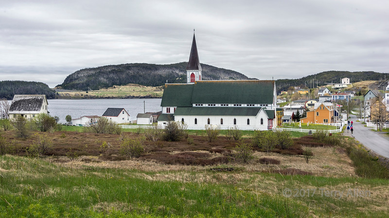 St Paul's Anglican Church and graveyard and the old town of Trinity, Newfoundland