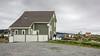 Salt box houses and laundry line, Trinity, Newfoundland