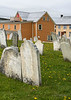 Gravestones and salt box houses, Trinity, Newfoundland