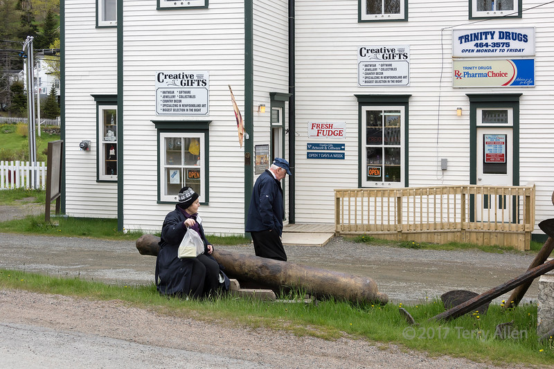 Street scene with old cannon and anchors, Trinity, Newfoundland