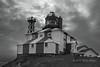 Cape Bonavista lighthouse BW with clouds, Newfoundland