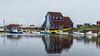 Ye Matthew Legacy building with replica of John Cabot's ship Matthew, Bonavista harbour, Newfoundland