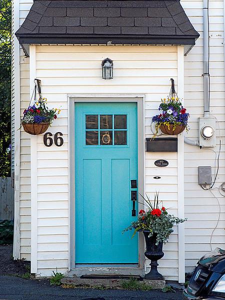 Flowers in Front of Row House Door