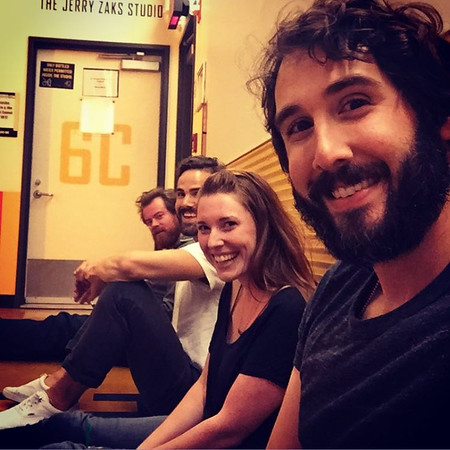 joshgroban  9/23/16  When we aren't needed in a scene @kittendonut, @nicholasbelton, @scottstangland and I become snacking hallway misfits up to no good. #cometrehearsals #kalechipsaremessy