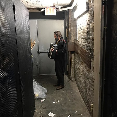 "joshgroban  11/23/16 Sometimes right before going on, Pierre needs some ""me time"" by the garbage. #broadway #glamour"