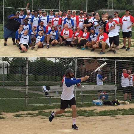 joshgroban   8/15/16   Had a wet hot American summer softball game with my beloved crew and band. The Mudflaps gave a good effort but happy to say my team the Honey Badgers hung in there after burger break to win by 1. ☝🏻️🏆