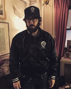 joshgroban  1/4/17 When you try on some sweet merch from your record label @wbr but you just got off stage and still in Pierre mode.