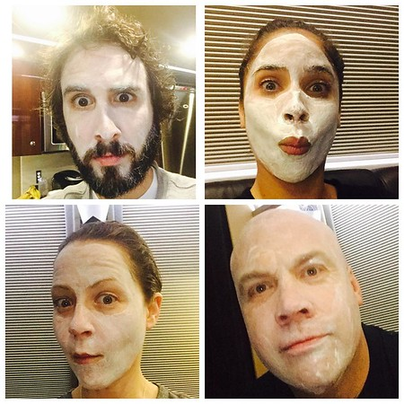 "joshgroban  8/13/16 Sooooo maybe the guys on the bus wanted to join the ladies on the bus in ""wine and face mask night"". It's fine."