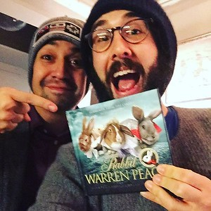 joshgroban  2/23/17  #tbt to when Lin was in NYC for a top secret trip (it is now safe to Instagram this photo) and he, the nicest man to ever live, gave me a War and Peace book portrayed by bunnies. I will treasure it. 🐰