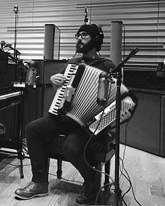 joshgroban  2/12/17  Laying down some wicked accordion for the @greatcometbway cast album. #whataboutpierre (📷 @lysi_ )