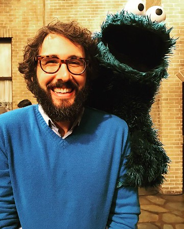 joshgroban   3/2/17  He smelled cookie on my breath from 100 yards away. Today was brought to you by the letters O, M, and G. It was an honor and a privilege work on Sesame Street today! I'm imploding with joy! #season48!!!