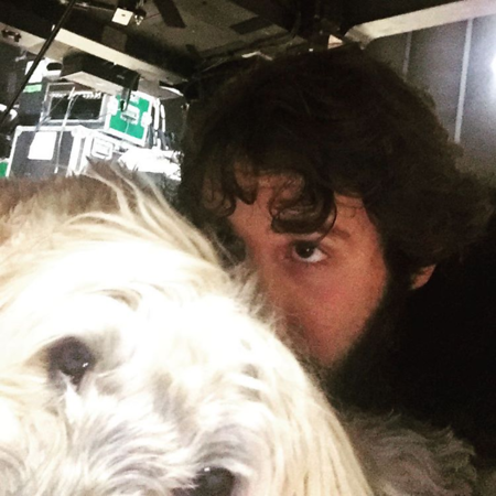 joshgroban  7/7/16 When everyone clears the rehearsal room Sweeney and I lay under the piano. #bestspot
