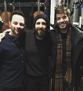 joshgroban  1/18/17  Oh, Helloooooo it's PBS's favorite trio The Three Tunas! Thanks @nickkroll and @johnmulaney for stopping by @greatcometbway today!